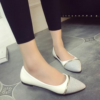 Women Ballet Flats Summer Rubber Flats Slippers Lady's Point Toe OLCasual Shoes Wedding Party Shoes ( Silver ) - intl
