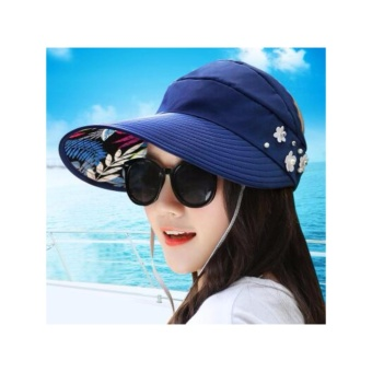Women Beach Hat Lady Visor Cap Wide Brim Floppy Fold Summer Sun Hat New (blue) - intl