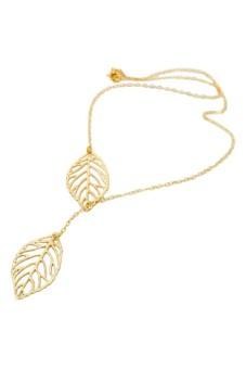 Women Big Leaves Clavicle Pendant Neck Gold