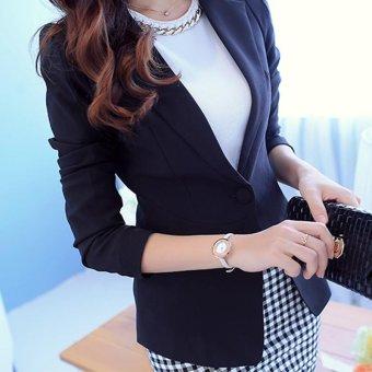 Women Blazers Jackets Suit Spring Autumn Single Button FemaleLadies Blazer(White) - intl - 4