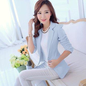 Women Blazers Jackets Suit Spring Autumn Single Button FemaleLadies Blazer(White) - intl - 3