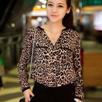 Women Blouse Casual Long Sleeve V-neck Leopard Chiffon Shirt