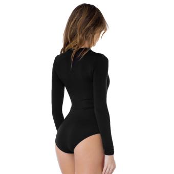 Women Bodysuit Plunge Neckline Lace Up Playsuit Leotard Jumpsuit Overalls - intl - 2