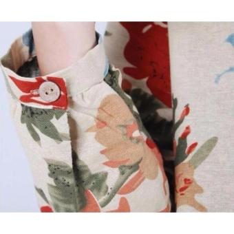 Women Bohemian Printed V-neck Beach Waist Chiffon Dress High WaistLong Sleeve Strap Vestidos - intl - 4