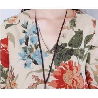Women Bohemian Printed V-neck Beach Waist Chiffon Dress High WaistLong Sleeve Strap Vestidos - intl - 3