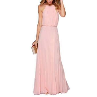 Women Bohemian Style Pleated Long Dresses Sleeveless Halter SexyFormal Dress Fashion Clothes(Pink) - intl
