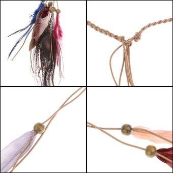 Women Boho Style Feather Headband Headdress Tribal Party Vacation Hair Rope Headpieces Hippie Headwear #1 - intl - 3