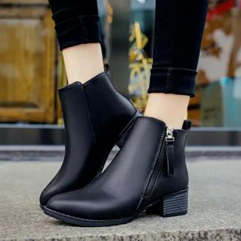 Women Boots Martin Boots Pointed Thick With Low Side Zipper England Boots (Black)