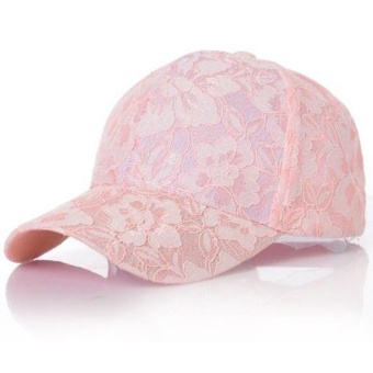 Women Breathable Casual Lace Floral Caps Beach Baseball Adjustable Cap Hats Pink - intl