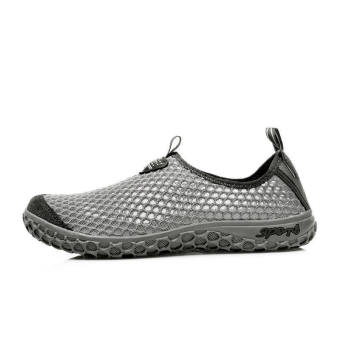 Women Breathable Mesh Sport Lace-Ups Low Cut Sneakers-Grey - picture 2