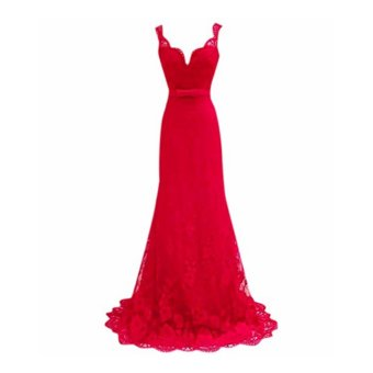 Women Bridesmaid Deep V-Neck Lace Prom Gown Evening Cocktail Long Dress Red Sleeveless Party - intl