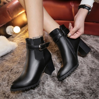 Women Buckle Ankle Boots Side Zipper Martin Short Boots - intl
