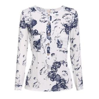 Women Casual Round Neck Long Sleeve Floral Print Button Down BlouseShirts (White)
