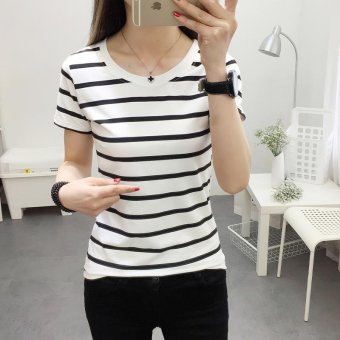 Women casual short sleeve striped t-shirt - intl