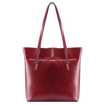 Women Cattlehide Genuine Leather Large Capacity Shoulder Bag Tote Bags (Wine Red) - 2