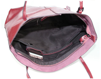 Women Cattlehide Genuine Leather Large Capacity Shoulder Bag Tote Bags (Wine Red) - 5