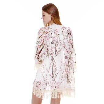Women Chiffon Kimono Cardigan Lace Blouse Floral - Intl - 4