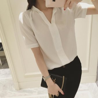 Women Chiffon Shirts Ladies Summer Short Sleeve Casual White Blouse Tops - intl