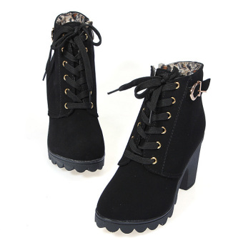 Women Chunky Block High Heel Ankle Boots Winter Nubuck Buckle Martin Boot Shoes Black -Intl - 2