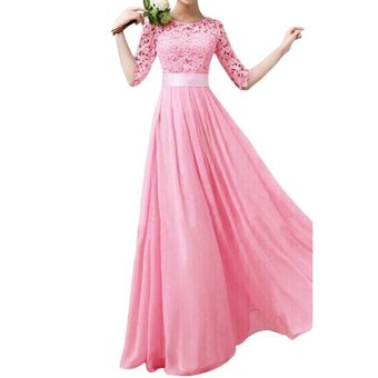 Women Crochet Lace 1/2 Sleeve Tunic Bridesmaid Formal Gown Party Maxi Chiffon Long Dress (Blush Pink) - intl