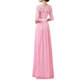 Women Crochet Lace 1/2 Sleeve Tunic Bridesmaid Formal Gown Party Maxi Chiffon Long Dress (Blush Pink) - intl - 3