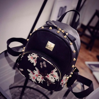 Women Cute School Bags Backpack Mini 2016 Fashion Back Pack Floral Printing Black Small PU Leather Backpack For Teenagers Girls - intl