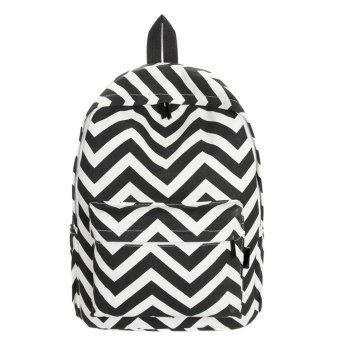 Women Double-Shoulder Sweet Stripe Canvas Backpack Schoolbag Black