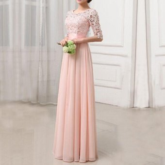 Women Dress Lace Chiffon Half Sleeve Slim Maxi Long Gown Elegant Princess Evening Party One-Piece - intl - 3