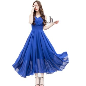 women dress sexy V neck elegant white long maxi dress chiffon partydresses high waist boho robe femme vestido de festa-Blue - intl