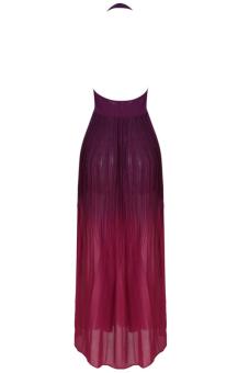 Women Elegant Party Dress Summer Maxi Long Dress Chiffon Boho Dress 2017 New Sleeveless O-neck Halter Pleated Fashion Backless Dresses - intl - 3