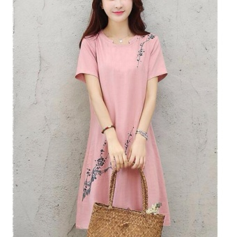 Women Elegant Plus Size A-Line Dress Linen Floral Working Casual Short Sleeve Solid Color Skirts (pink) - intl - 3