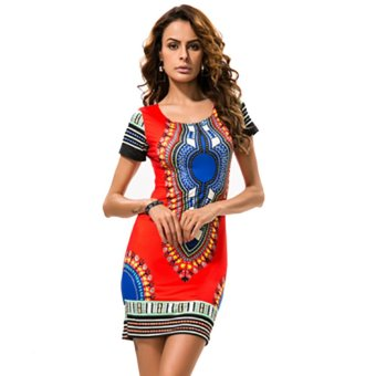 Women Ethnic Style Tribal Printed Beach Floral Tunic Dress (Red) -intl