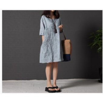 Women Fashion Embroidered Cotton Linen Dress Lace A Line Plus Size Dress - intl Price Philippines