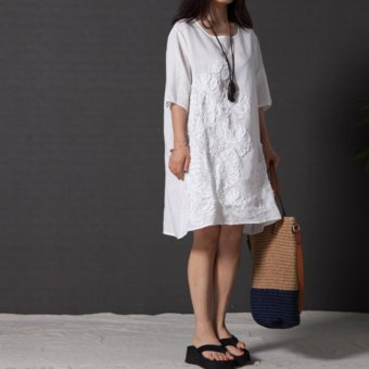 Women Fashion Embroidered Long Sleeved Cotton Linen Dress Lace ALine Plus Size Dress - intl - 2