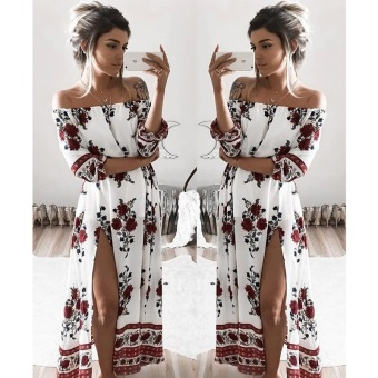 Women Fashion Off-shoulder Print Dress