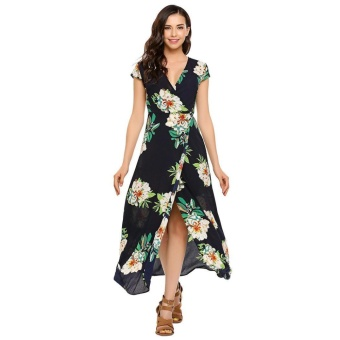 Women Fashion V-Neck Short Sleeve Wrap Floral Loose Beach MaxiDress ( #3 ) - intl