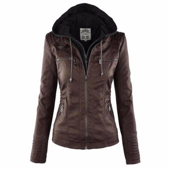 Women Fashion Winter Slim Zipper Leather Jacket - intl - 2