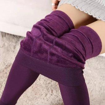 Women Fashion Winter Thermal Stretchy Leggings Warm Fleece Lined Tights Pants (Purple) - intl - 2