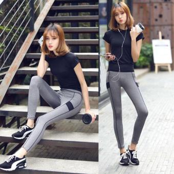 Women Fitness wear Sportswear 2Pcs suit Short sleeved T-shirt +pants Ladies slim Quick dry running Yoga clothes suit Pink withblack