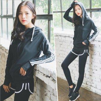 Women Fitness Yoga Set jacket & Bra & pants Sport Set GymClothes Sport wear Training Suit Running Outdoor - intl - 4