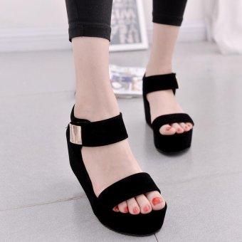 Women Flat High Wedge Sandals Shoes Ankle Strap Velcro Platform Shoes Chunky Creepers - intl