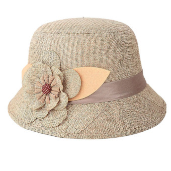Women Flax Flower Hat Khaki