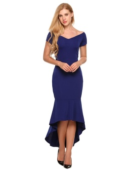 Women Formal Off the Shoulder Short Sleeve Mermaid MaxiAsymmetrical Dress ( Size XL - Navy Blue ) - intl