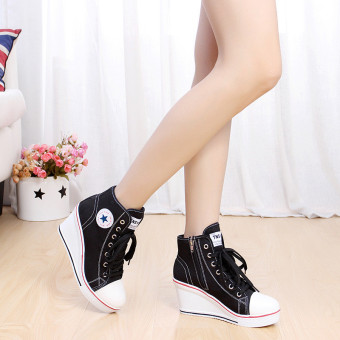 Women Girls Shoes High Top Wedge Heel shoes Lace Up Canvas Sneakers 8CM Height - 3