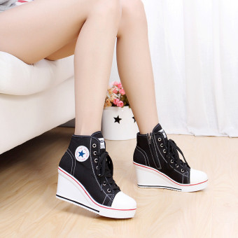 Women Girls Shoes High Top Wedge Heel shoes Lace Up Canvas Sneakers 8CM Height - 5