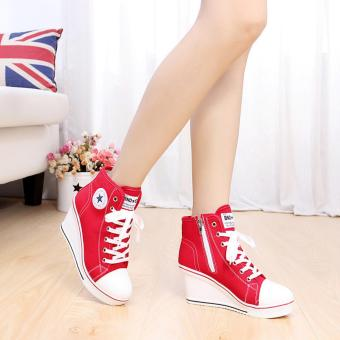 Women Girls Shoes High Top Wedge Heel shoes Lace Up Canvas Sneakers 8CM Height Red -Intl