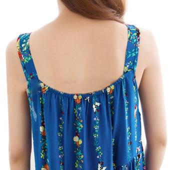 Women Girls Summer Sleeveless Floral Cotton Sleep Dress Bath HomeNight Wear Housedress Nightwear-Blue - 2