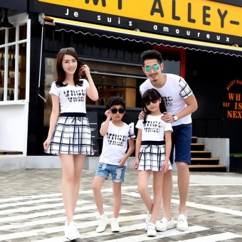 Women Heart Checked Family Dresses Couple Dresses Parent-childDresses Matching Outfits Dresses Parentage Clothes Shirts - intl