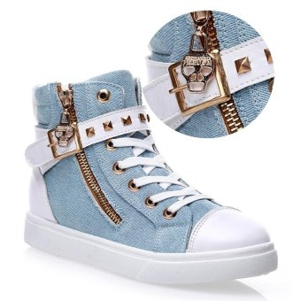 Women High Cut Canvas Shoes Rivet Side Zipper Flat Shoes - intl
