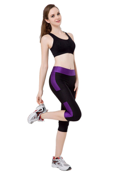 Women High Waist Stretch Cropped Slim Skinny Fitness YOGA Sport Gym Pant Legging (Black&Purple) - Intl